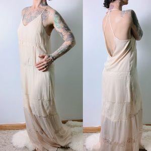 ASTR the Label Lace Inset Chiffon Maxi Dress Cream